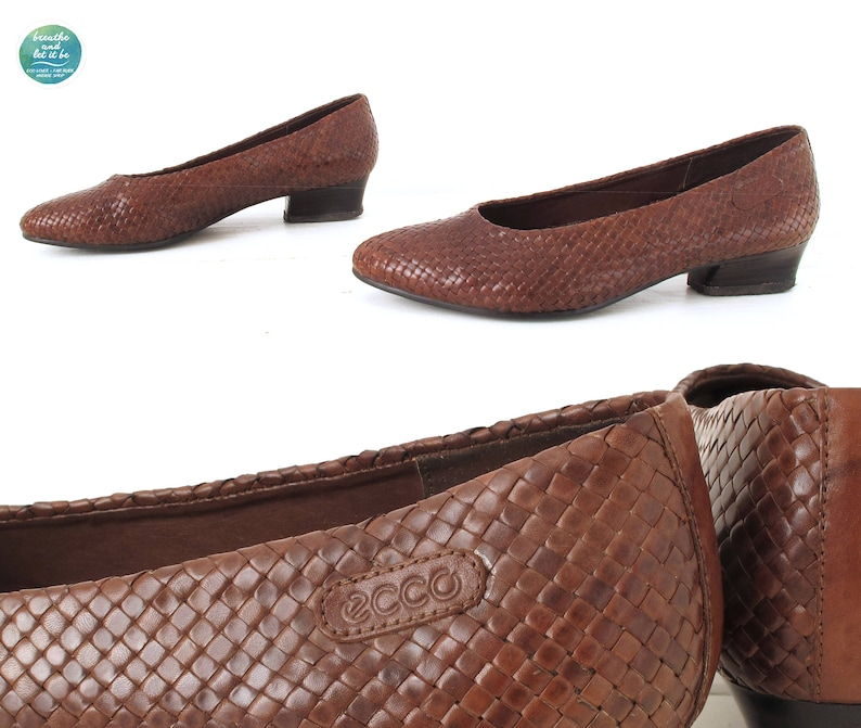 a41385e93015 Ecco Woven Leather Shoes 80s Chocolate Brown Preppy Loafers