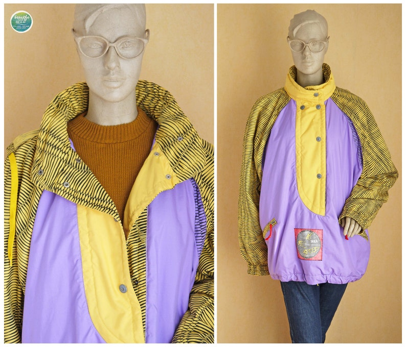 theENDsale Skila Windbreaker Insulated Ski Jacket 90s Oversized Unisex Streetwear Yellow Purple Jacket Fall Vintage Outerwear Extra Large