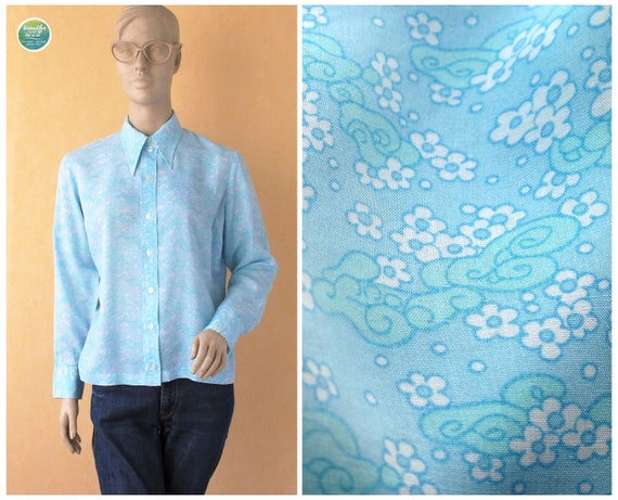 breathe 60s Dreamy Shirt with Clouds and Flowers B