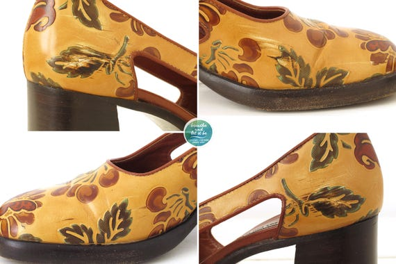 breathe Chunky Floral Heels Cut Out Side Shoes Fl… - image 8