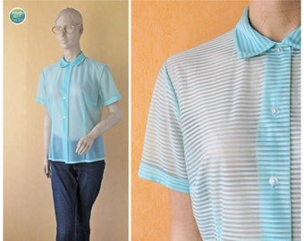 Mint Sheer Blouse Striped Button Up Top 80s Transparent Tiny Collar Blouse Sweet Short Sleeve Vintage Top Medium Oversized