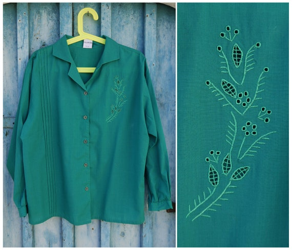 theENDsale Cut Out Embroidery Top 80s Dark Green P