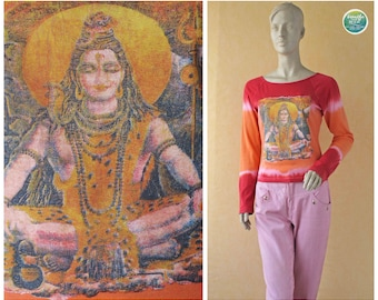 90's Shiva Top Tie Dye Tee Red Orange Ombre Top Meditating Shiv Siva Hinduism Long Sleeve T-Shirt Cotton Short Top Small Medium