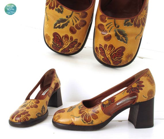 breathe Chunky Floral Heels Cut Out Side Shoes Fl… - image 3