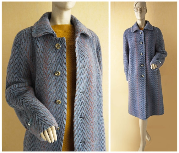 breathe Rainbow Wool Coat 70s Striped Winter Coat