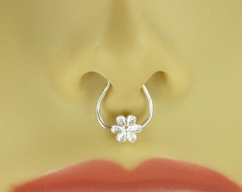 Nose ring- Faux Septum ring- sterling silver septum ring- silver jewelry, Handmade Gift-Body Jewelry