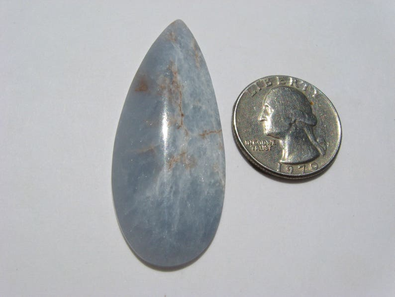 Angelite cabochon Periwinkle Blue Anhydrite cab focal stone jewelry Freeform teardrop cab 54.8x22x4.8mm