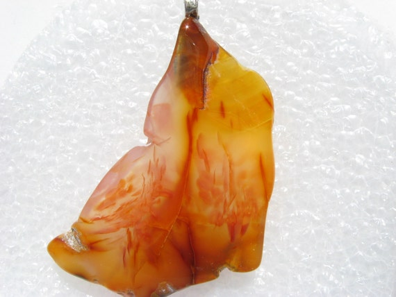 Tumbled Carnelian Pendant Carnelian Agate slab pendant Mossy Carnelian Agate stone pendant with druzy sterling silver pendant