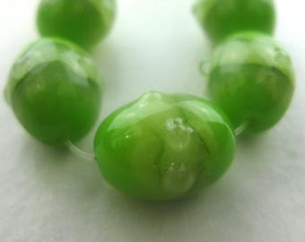 Green faux lampwork beads made of polymer clay