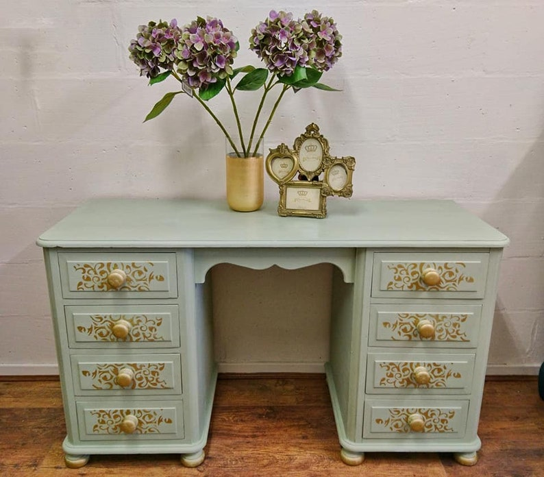 Pale Green And Gold Dressing Table Solid Wood Eight Drawers Bedroom Furniture Storage Shabby Chic Upcycled Painted