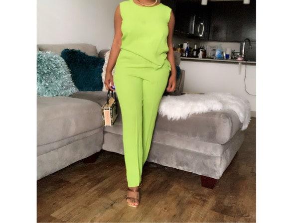 Women's Vintage Lime Green Pants Set(Size S)