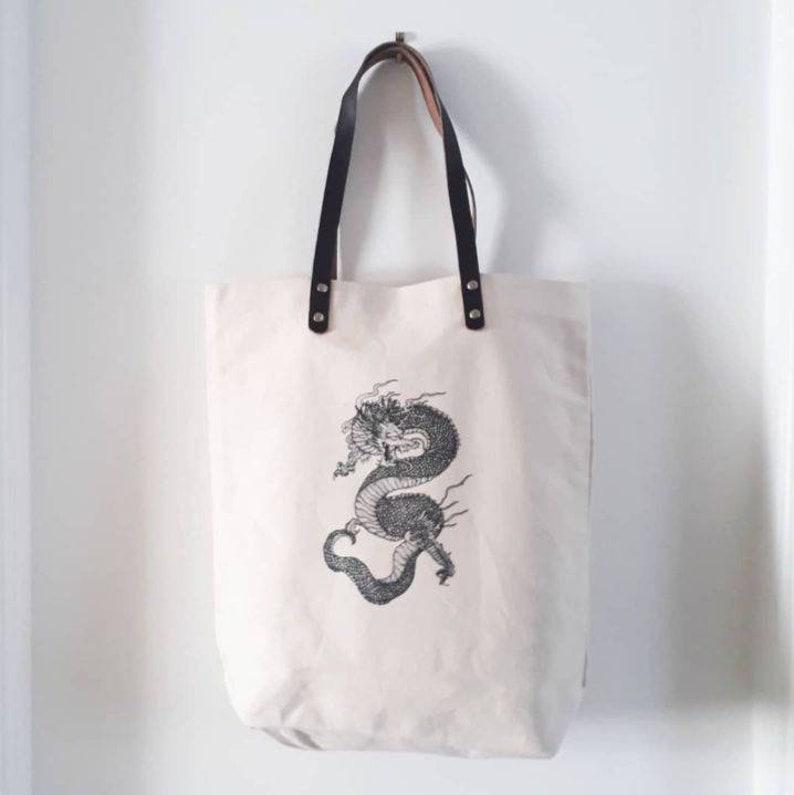 Leather handled tote bag  dragon design  canvas shopper bag