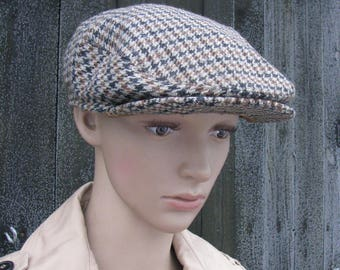Vintage HAT cap Bohlins Modell flat cap woolen hat men cap chequered  pattern Swedish hat 176c360912e4