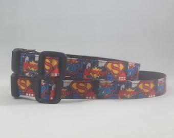 Comic strip style small or medium adjustable dog collar