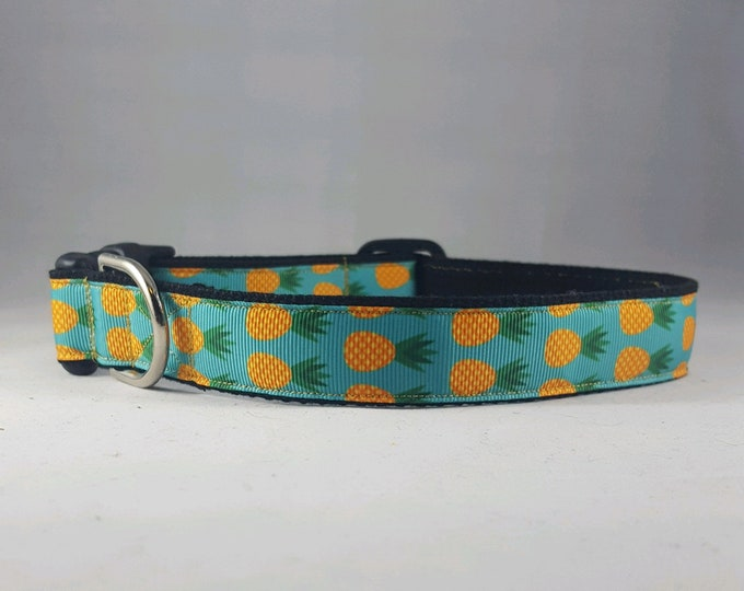 Featured listing image: Spring Blue/Yellow Pineapple adjustable dog collar