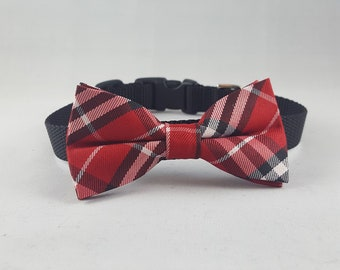 Small Bow Tie Dog Collar Red/Black Plaid