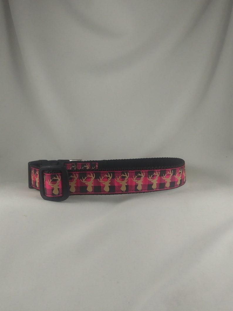 Deer Antlers Pink Plaid Semi Sparkly Large Adjustable Dog Collar