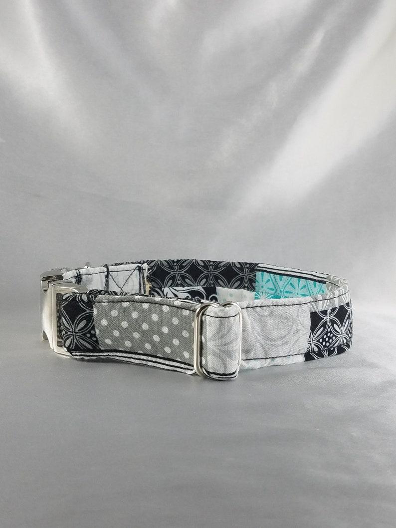 Large adjustable dog collar blockspolka dot and floral print wmetal hardware