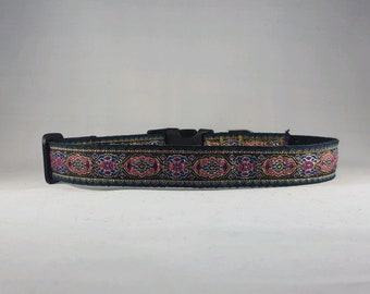 Elegant Pink and Blue Designs Adjustable Dog Collar