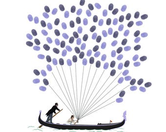 Guest book / Venetian gondola in prints for a wedding keepsake