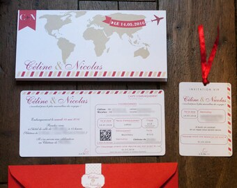 Wedding invitation with ticket invitation to travel