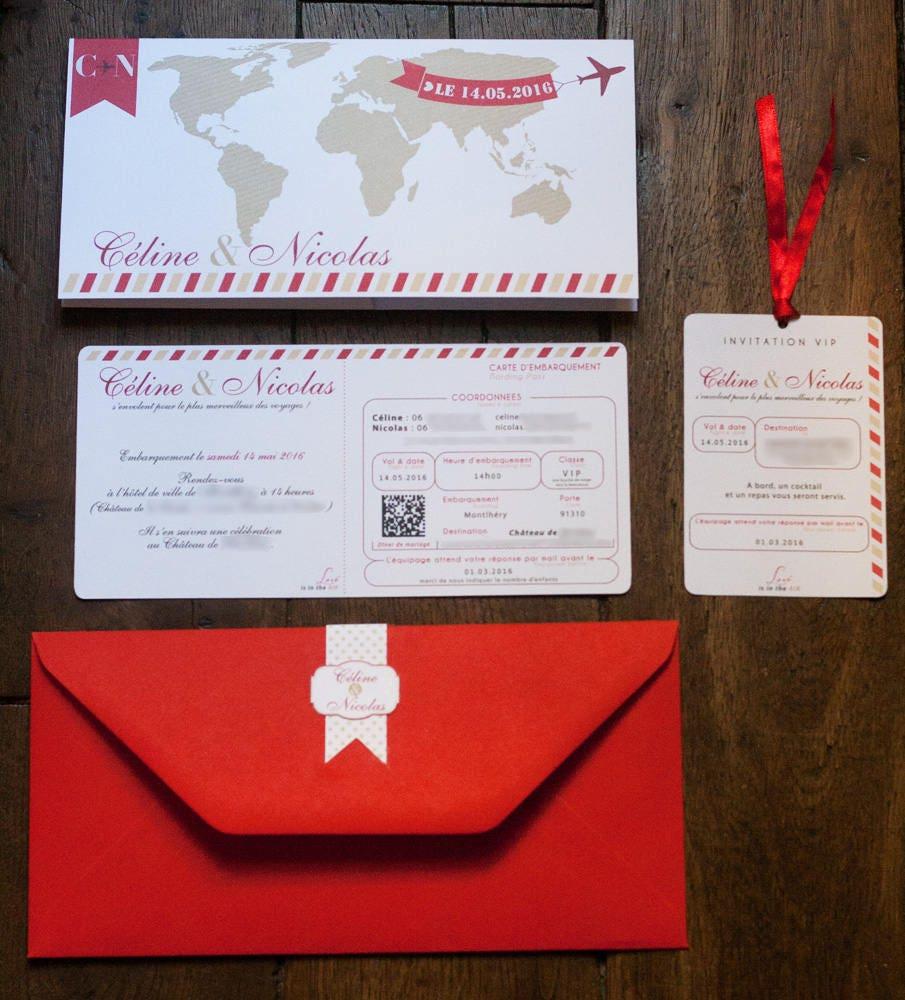 Wedding invitation with ticket invitation to travel | Etsy