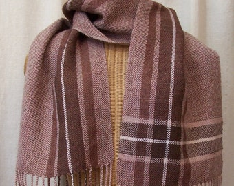 Russet Chestnut Brown Apricot Blush Handwoven Wool Plaid Scarf WS03