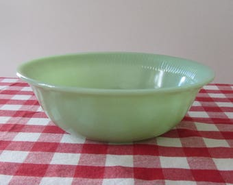 "FIRE-KING by Anchor Hocking - Jade-ite round Vegetable Serving Bowl in the ""Jane Ray"" pattern - Made in USA - 1940s"