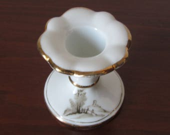 Portuguese Vintage - COIMBRA S.P. - White porcelain Candlestick Holder - Handpaintend sepia landscape on the base - Made in the 1950s