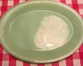 FIRE KING Jane Ray Jadeite Oval Platter - Made in USA - 1950s