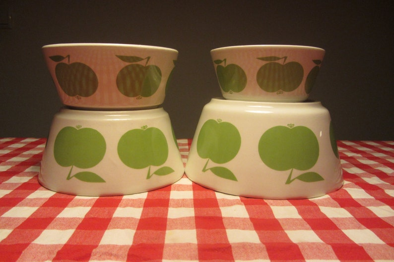 Made in Czechoslovakia 1930s DITMAR URBACH Set of Four Stackable WhiteBeige pottery Bowls with a decoration of Mint Apples
