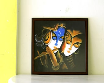 Radha Krishna Acrylic Painting, Indian Contemporary art, Hindu God art, canvas painting, Modern Art on canvas , Home Decor
