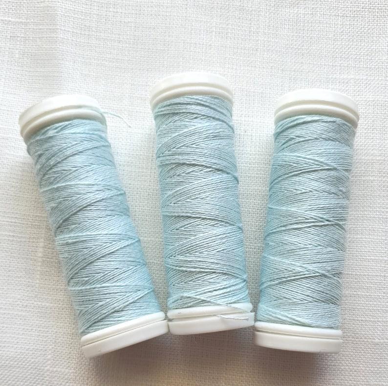 Set of Linen Thread 51020 Natural Light Blue Spools hand /& machine quilting sewing craft lace jewelry Linen Hit Linen Bobbin 70 m Each