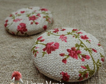 2 Linen Fabric Covered Buttons Sweet Meadow Large Linen Buttons 48 mm size 75 Handmade