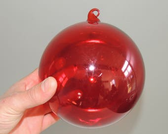 Large vintage blown glass christmas red ball / decoration / ornaments