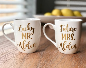 Engagement Gift for Couple | Future Mrs and Lucky Mr Coffee Mugs
