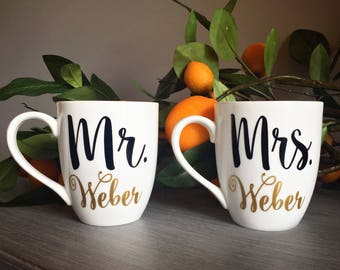 Mr and Mrs Mugs | Engagement Gift for Couple | Personalized Wedding Gift | Wedding Mugs