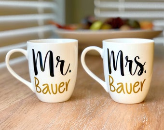 Mr & Mrs Coffee Mugs - Wedding gift - Bridal Shower gift - Engagement Gift - Couples Gift - His and Hers - Wedding Shower Gift - Mr and Mrs