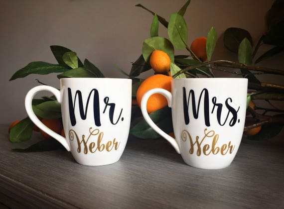 Wedding Gift for Couple, Mr and Mrs Mugs