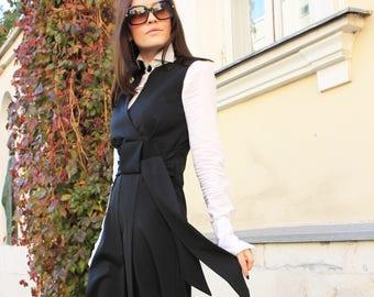 Black Dress/ Little Dress/ Sleeveless Dress/ Black Tunic/ Elegant Dress/ Festival Dress/ Wool Dress/ Tunic Dress/Doll Dress/Black Top/R00043
