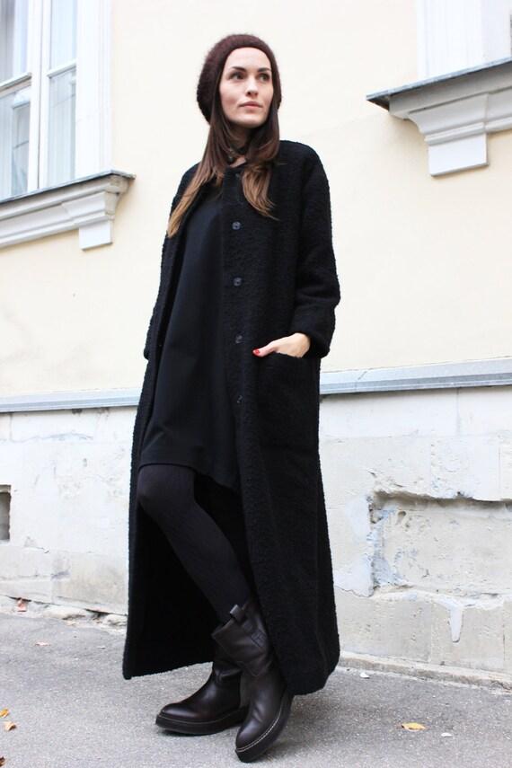 Hnliche artikel wie schwarzer mantel langen mantel warmen wintermantel frauen - Schwarzer wollmantel ...