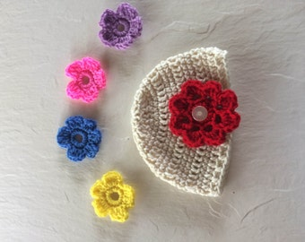 Baby hat Baby beanie Detachable flowers Crochet baby hat