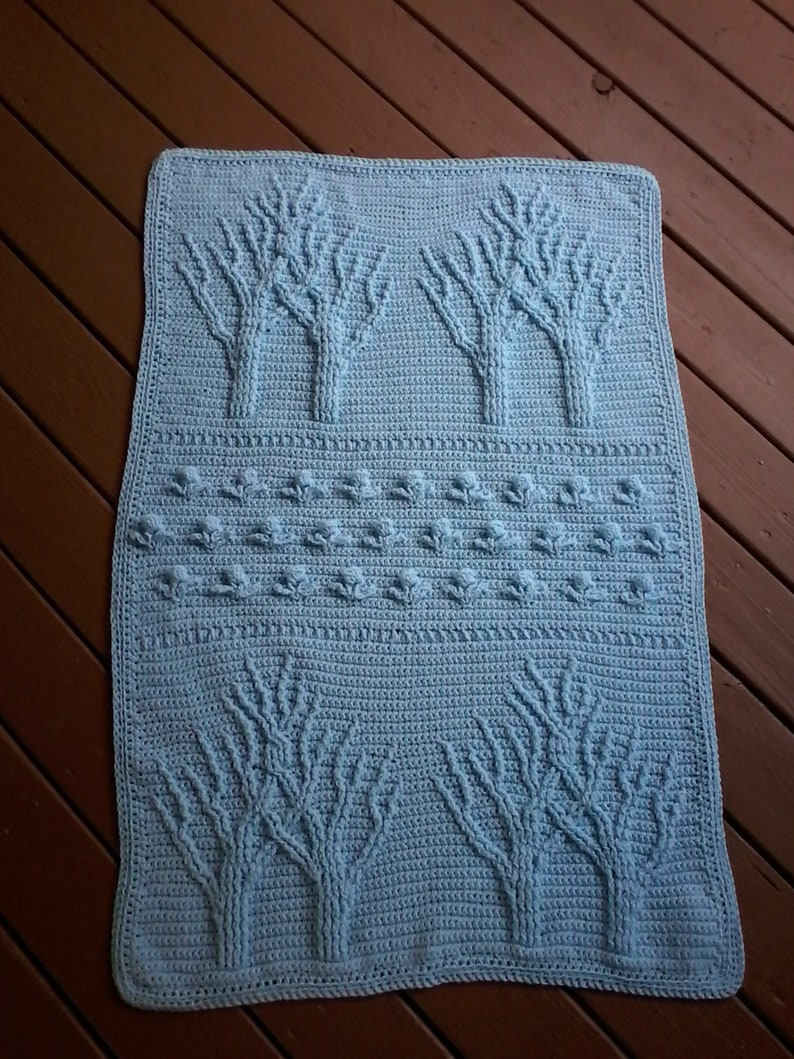 Baby blanket Blue tree of life Tree of life afghan Tree of life lapghan  Baby afghan Blue baby afghan Crochet tree of life Afghan blanket