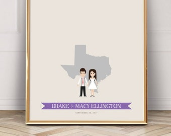 Amarillo Texas Oregon Wedding Guest Book Alternative Guestbook Ideas Gift for the Couple Custom Amarillo Wedding Sign City Skyline Print