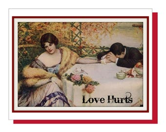 Valentine card, Anti-Valentine, Funny Valentine Card - Love Hurts