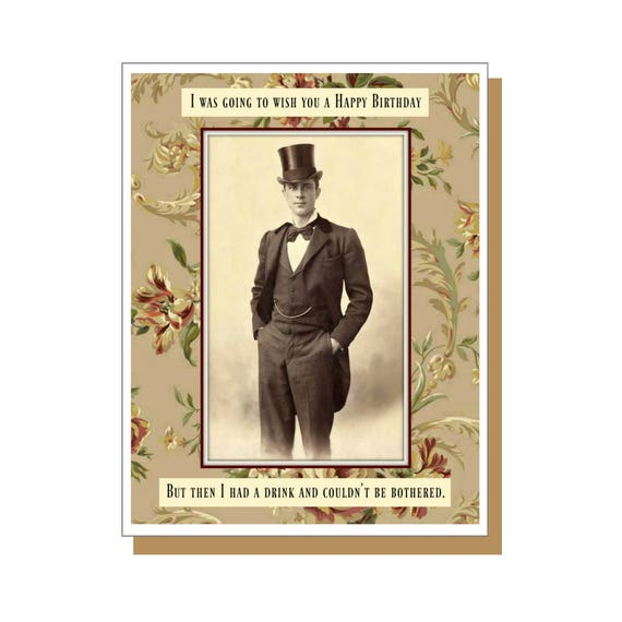 I Couldnt Be Bothered Retro Male Funny Birthday Card Etsy