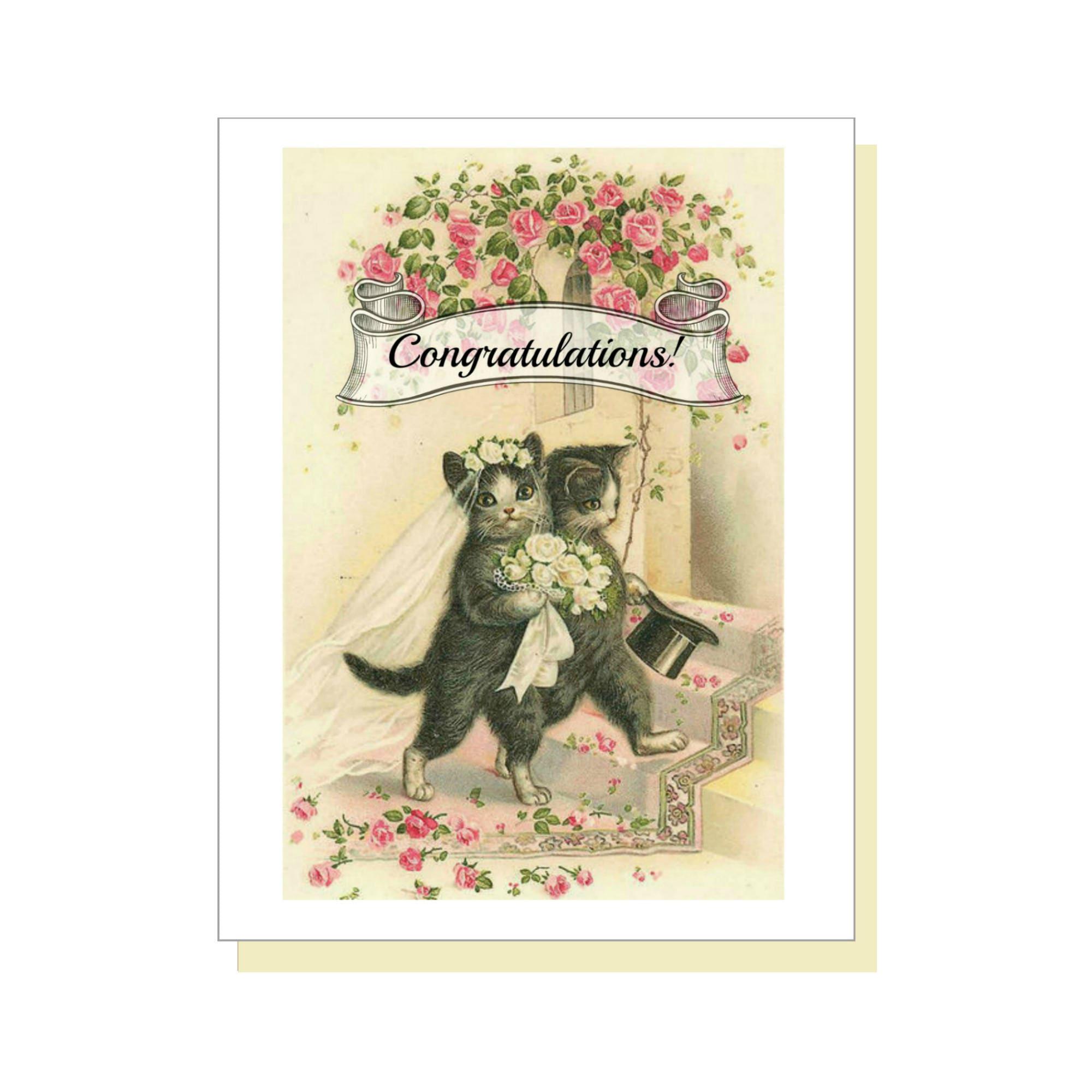 Hochzeit-Katzen. Hochzeit Glückwunsch-Karte Karte