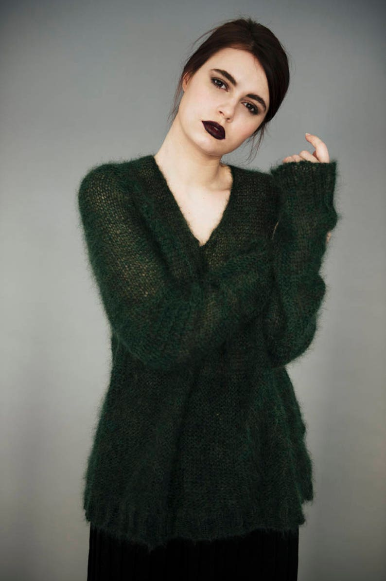 f63371561f Mohair sweater Green sweater Mohair pullover Vintage mohair