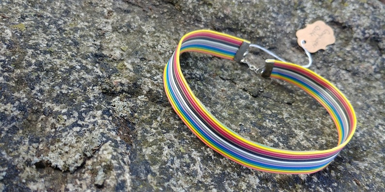 recycled rainbow computer cable cuff Totally Wired Choker