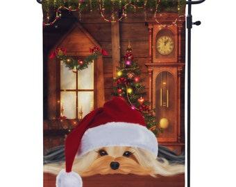 Yorkie Wearing Santa Hat Christmas Garden Flag, Terrier Christmas House Flag,  Holiday Flags, Christmas Decor Flag
